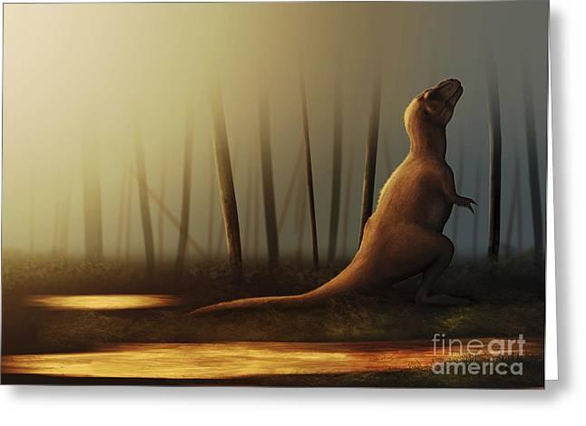 Sunbathing Greeting Cards - Tyrannosaurus Rex Sunbathing Greeting Card by Christian Masnaghetti