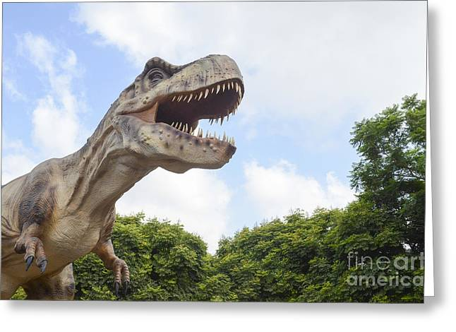 Trex Greeting Cards - Tyrannosaurus rex T. rex Greeting Card by Amir Paz