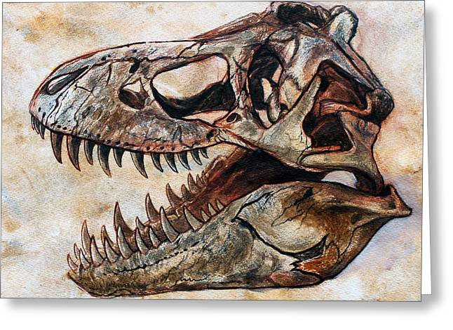 Trex Greeting Cards - Tyrannosaurus skull 2 Greeting Card by Harm  Plat