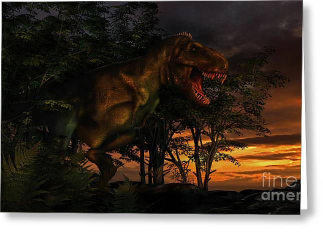 Forest Creature Greeting Cards - Tyranosaurus Rex Emerging From A Forest Greeting Card by Philip Brownlow