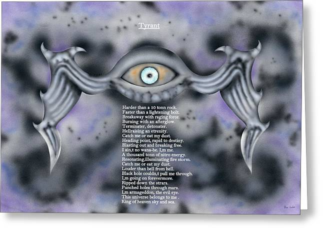 Terrorism Mixed Media Greeting Cards - Tyrant. Greeting Card by Kenneth Clarke