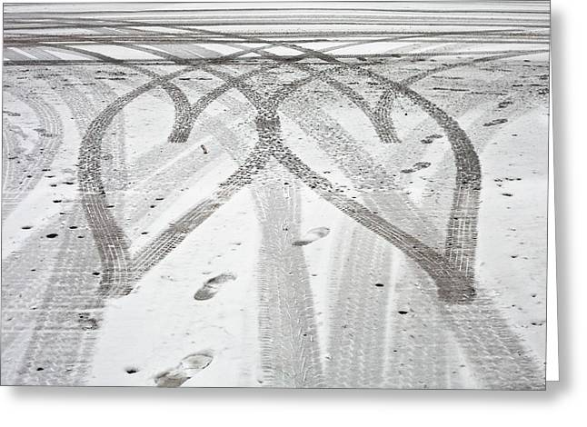 Design Drawings Greeting Cards - Tyre tracks Greeting Card by Tom Gowanlock