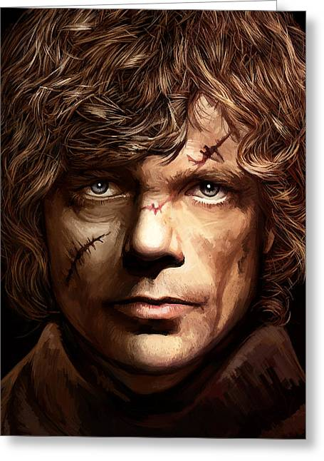 Game Mixed Media Greeting Cards - Tyrion Lannister - Peter Dinklage Game of Thrones Artwork 2 Greeting Card by Sheraz A