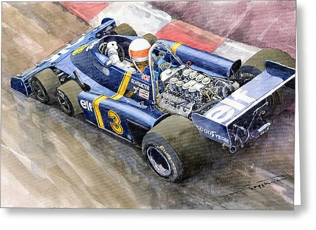 Monaco Greeting Cards - Tyrrell Ford Elf P34 F1 1976 Monaco GP Jody Scheckter Greeting Card by Yuriy  Shevchuk