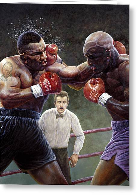 Mike The Tiger Greeting Cards - Tyson/Holyfield Greeting Card by Gregory Perillo