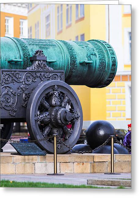 Metall Greeting Cards - Tzar Cannon Of Moscow Kremlin - Square Greeting Card by Alexander Senin