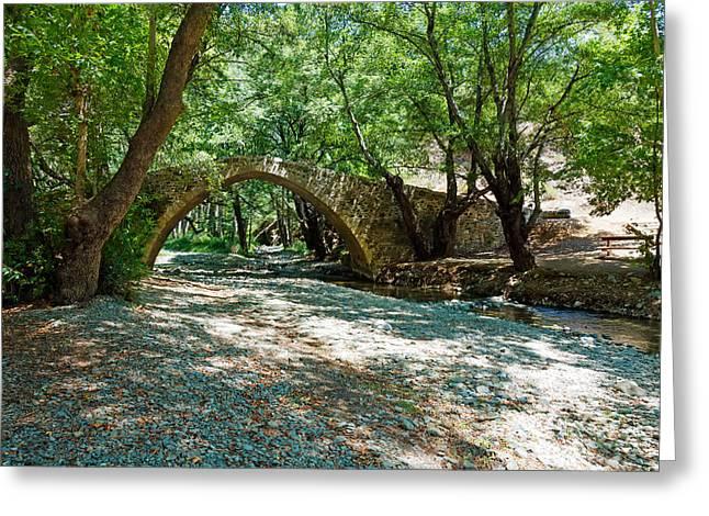 Stream Greeting Cards - tzelefos venetians Bridge in Trodos Cyprus Greeting Card by Rostislav Ageev