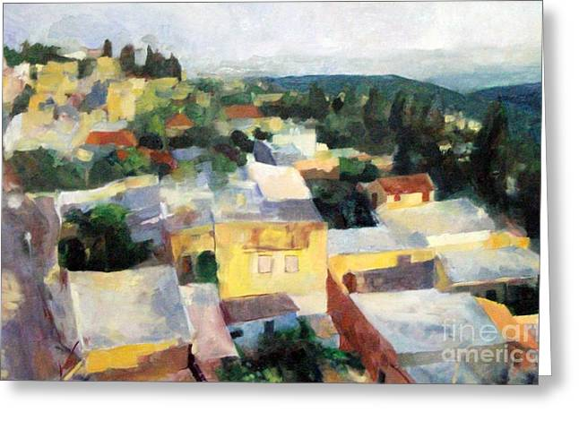 Inner Self Paintings Greeting Cards - Tzfat Greeting Card by David Baruch Wolk