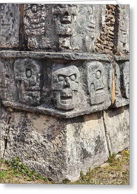 Sacrificial Art Greeting Cards - Tzompantli or Platform of the skulls at Chichen Itza Greeting Card by Bryan Mullennix