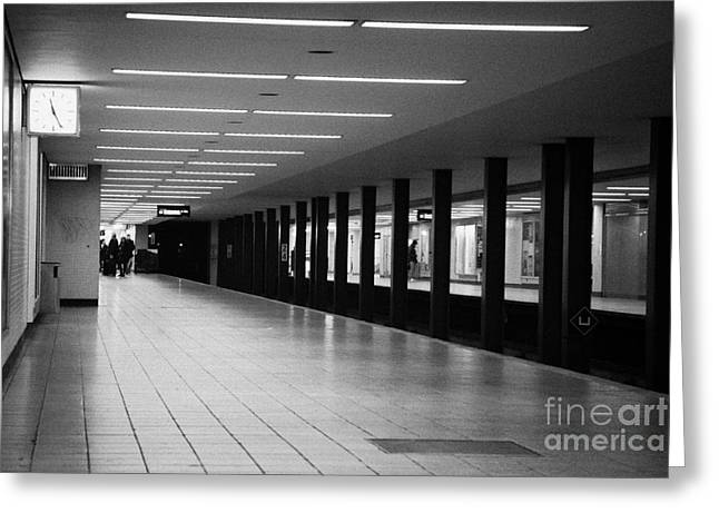 Berlin Germany Greeting Cards - u-bahn platform and station Berlin Germany Greeting Card by Joe Fox
