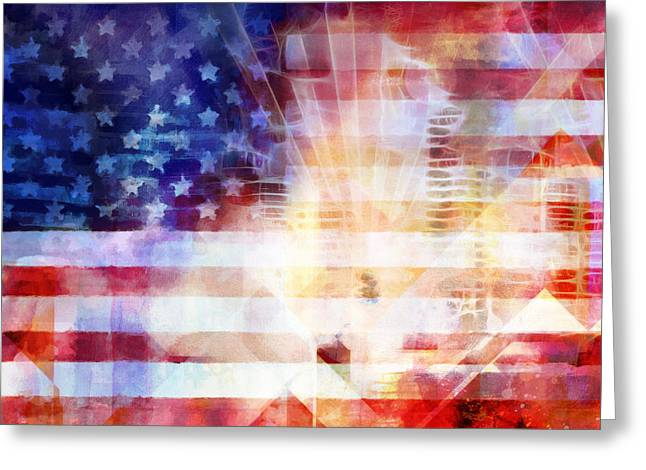 Usa Mixed Media Greeting Cards - U S A Greeting Card by Lutz Baar