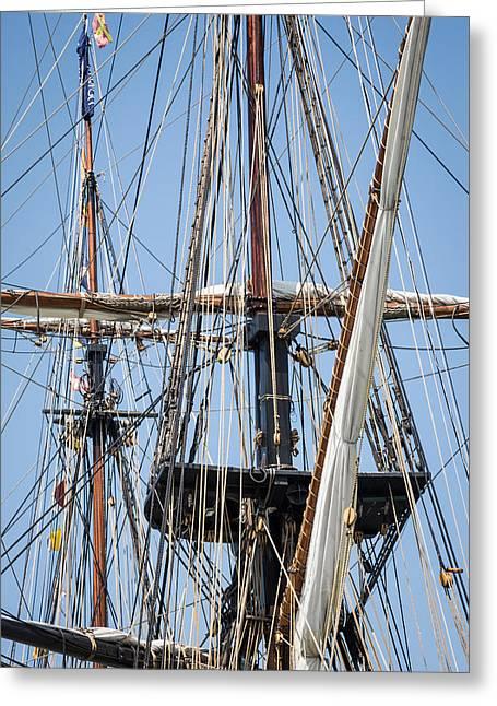 Tall Ships Greeting Cards - U. S. Brig Niagara Rigging Greeting Card by Dale Kincaid
