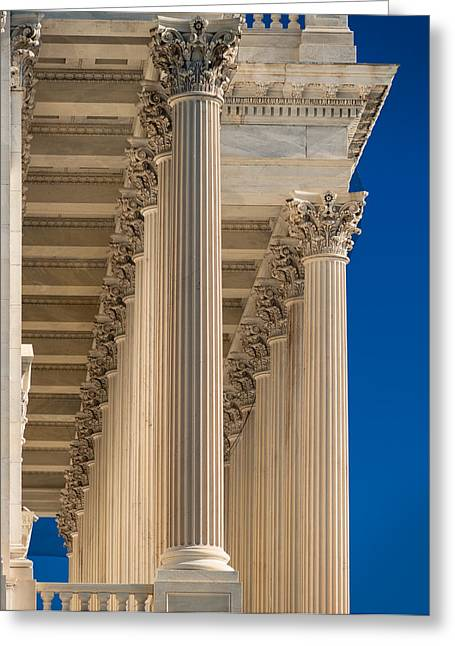 United States Capitol Greeting Cards - U S Capitol Columns Greeting Card by Steve Gadomski
