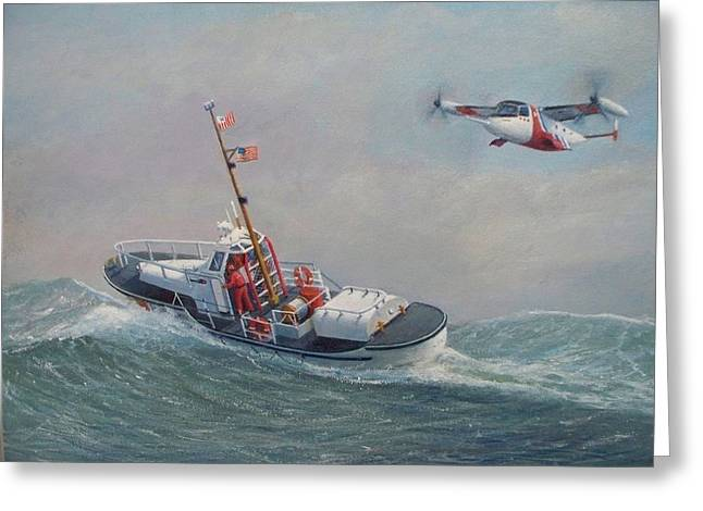 U. S. Coast Guard 44ft Motor Lifeboat And Tilt-motor Aircraft  Greeting Card by William H RaVell III