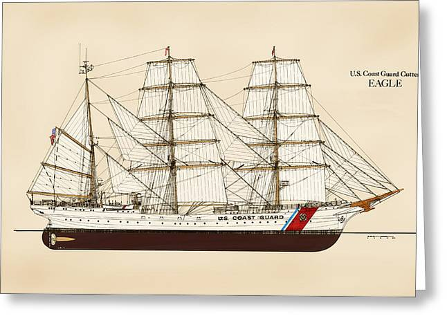 Tall Ships Greeting Cards - U. S. Coast Guard Cutter Eagle - Color Greeting Card by Jerry McElroy - Public Domain Image