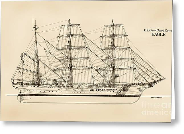 Tall Ships Drawings Greeting Cards - U. S. Coast Guard Cutter Eagle - Sepia Greeting Card by Jerry McElroy - Public Domain Image