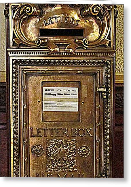 Postal Greeting Cards - U S Mailbox Gilded Greeting Card by Randall Weidner