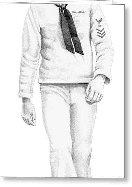 Us Navy Drawings Greeting Cards - U S Navy Sailor Greeting Card by Murphy Elliott