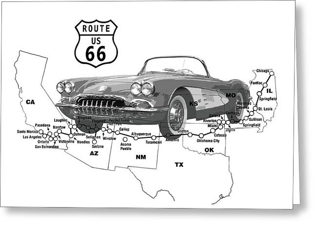 Driving Mixed Media Greeting Cards - U S Route 66 Greeting Card by Daniel Hagerman