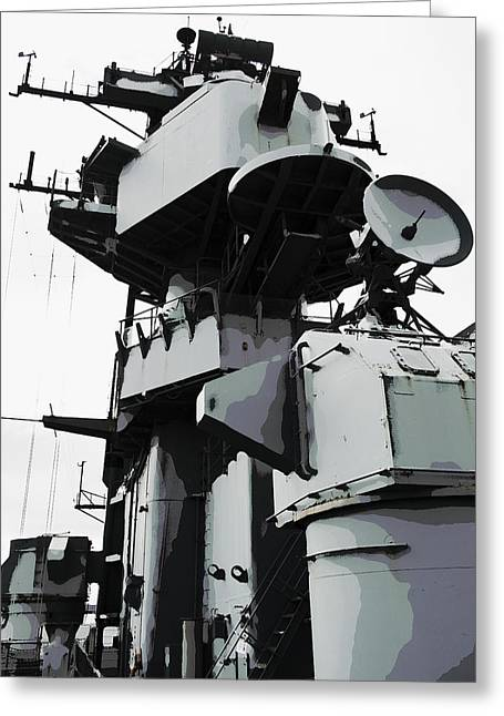 Military Might Greeting Cards - U S S Missouri Command Tower Greeting Card by Daniel Hagerman