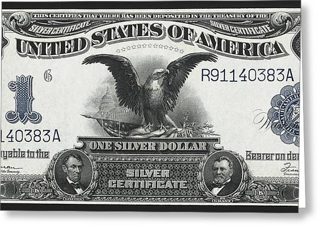 Eagle And Flag Greeting Cards - U. S. Silver Certificate 1899 Greeting Card by Daniel Hagerman