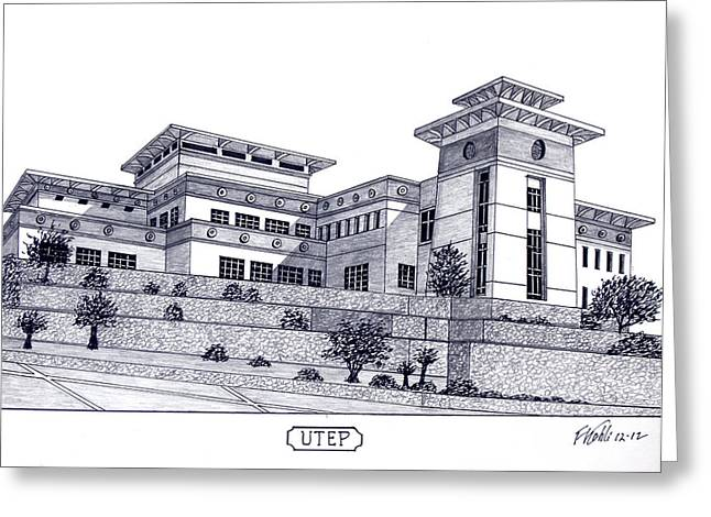 Famous University Buildings Drawings Greeting Cards - U T E P Greeting Card by Frederic Kohli