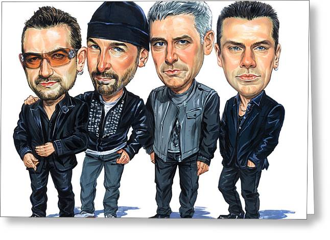 Caricatures Greeting Cards - U2 Greeting Card by Art