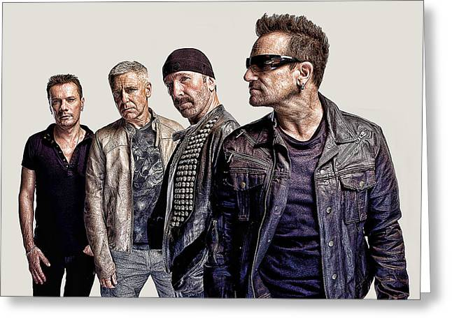Irish Rock Band Greeting Cards - U2 Goup Greeting Card by Riccardo Zullian