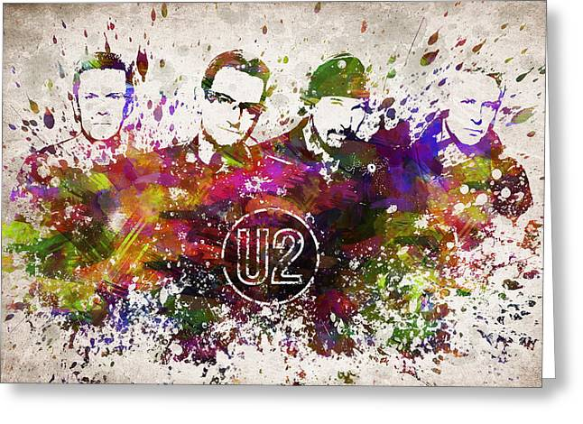 Mullen Greeting Cards - U2 in Color Greeting Card by Aged Pixel