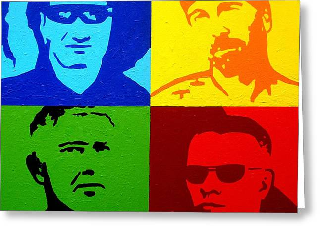 Acrylic Art Paintings Greeting Cards - U2 Greeting Card by John  Nolan