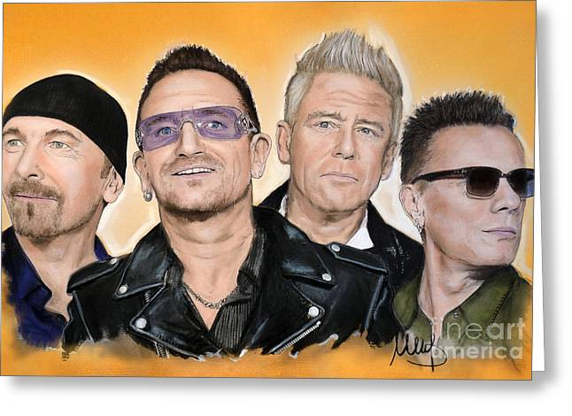 Edge Mixed Media Greeting Cards - U2 Greeting Card by Melanie D