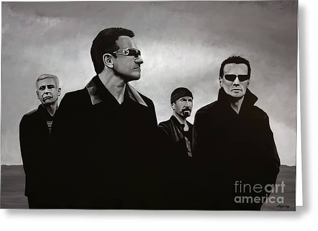 Line Paintings Greeting Cards - U2 Greeting Card by Paul Meijering