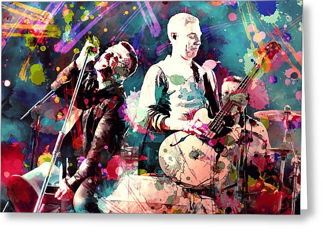 U2 Paintings Greeting Cards - U2 Greeting Card by Rosalina Atanasova