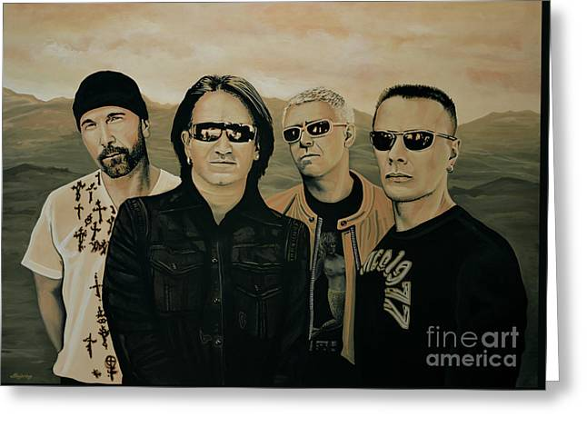 Singer Paintings Greeting Cards - U2 Silver And Gold Greeting Card by Paul Meijering