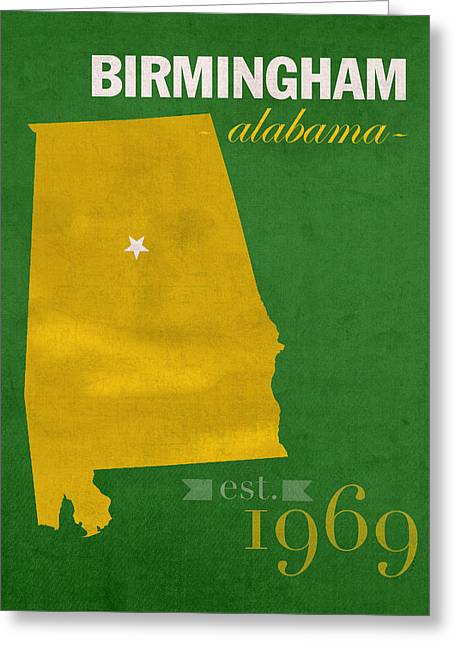 Alabama Mixed Media Greeting Cards - UAB University of Alabama at Birmingham Blazers College Town State Map Poster Series No 009  Greeting Card by Design Turnpike