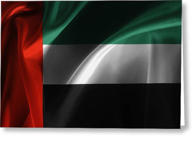 Emirates Greeting Cards - UAE flag Greeting Card by Les Cunliffe