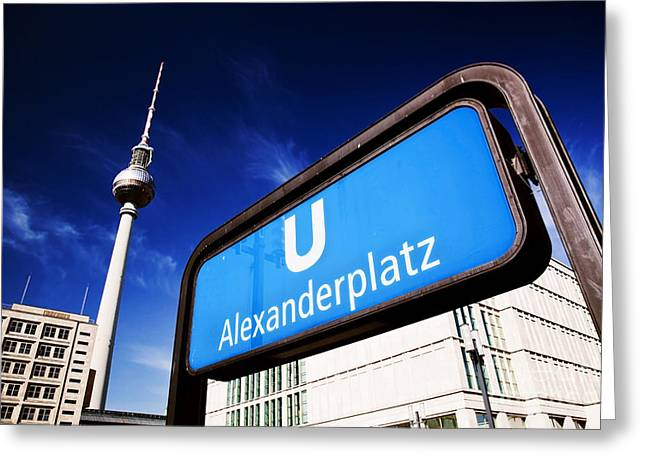 U-bahn Photographs Greeting Cards - Ubahn Alexanderplatz sign and Television tower Berlin Germany Greeting Card by Michal Bednarek
