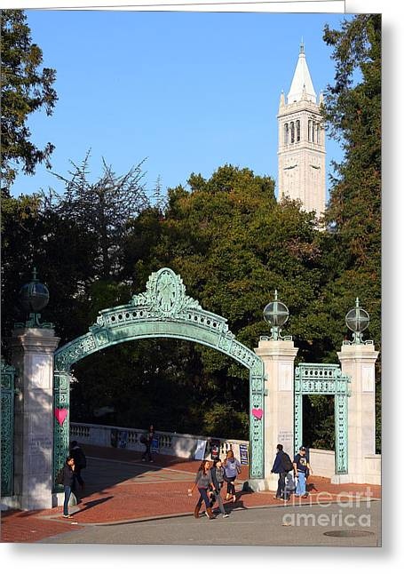 Uc California Greeting Cards - UC Berkeley . Sproul Plaza . Sather Gate and Sather Tower Campanile . 7D10027 Greeting Card by Wingsdomain Art and Photography