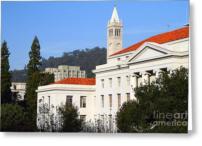 Uc California Greeting Cards - UC Berkeley . Sproul Plaza . Sproul Hall .  Sather Tower Campanile . 7D10008 Greeting Card by Wingsdomain Art and Photography