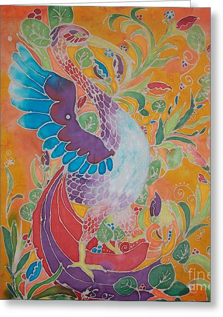 Movement Tapestries - Textiles Greeting Cards - Uccello Bird Greeting Card by Jamie Schab