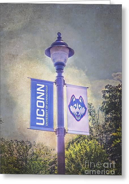 Uconn Greeting Cards - UConn Huskies Light Pole Greeting Card by Steve Pfaffle