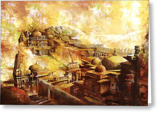 Devi Greeting Cards - Udaipur Kambalgarh Fort Greeting Card by Catf