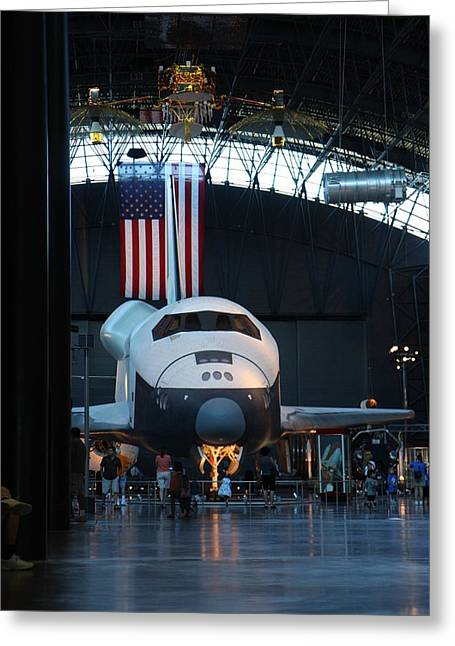 Center Greeting Cards - Udvar-Hazy Center - Smithsonian National Air And Space Museum annex - 121255 Greeting Card by DC Photographer