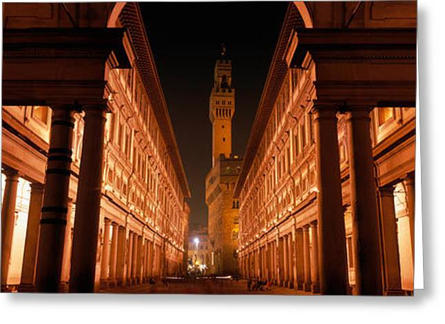 Dark Skies Greeting Cards - Uffizi Museum, Palace Vecchio Greeting Card by Panoramic Images