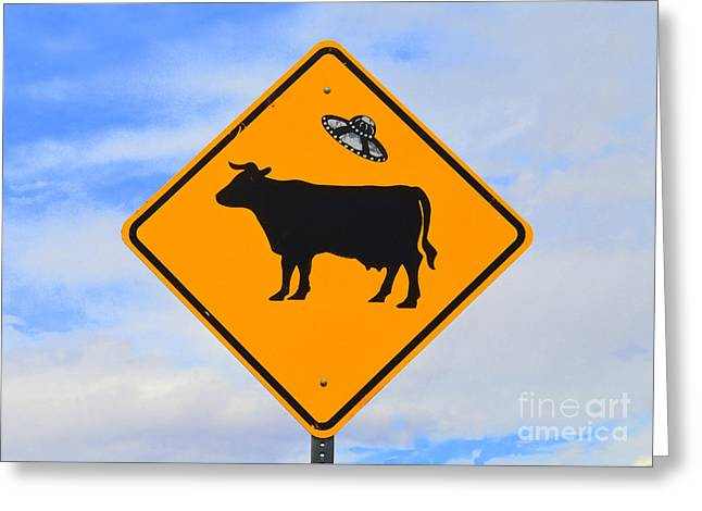 Ufo Cattle Crossing Sign In New Mexico Greeting Card by Catherine Sherman
