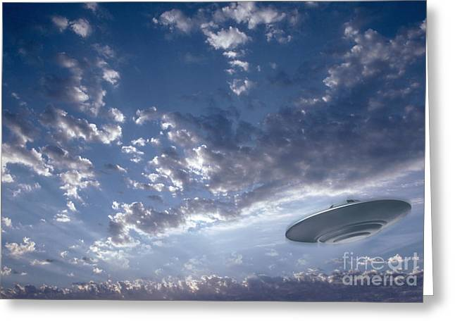 Unidentified Greeting Cards - Ufo In The Sky Greeting Card by Mike Agliolo