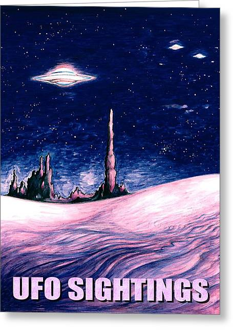 Pencil On Canvas Greeting Cards - UFO Sightings - Alien Space Poster Greeting Card by Art America - Art Prints - Posters - Fine Art
