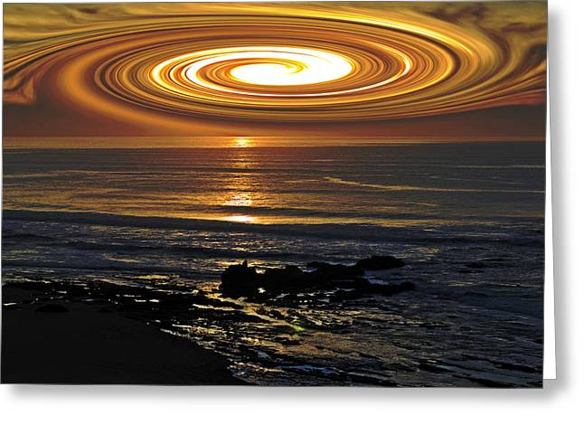 Science Greeting Cards - UFO Sunset Greeting Card by Richard Risely