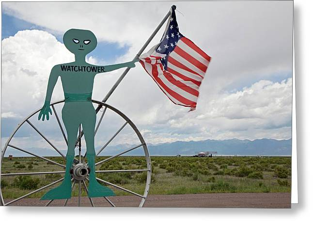 Ufo Watchtower Greeting Card by Jim West