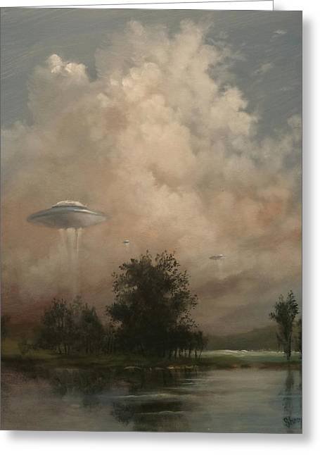 Flying Saucers Greeting Cards - UFOs - A Scouting Party Greeting Card by Tom Shropshire